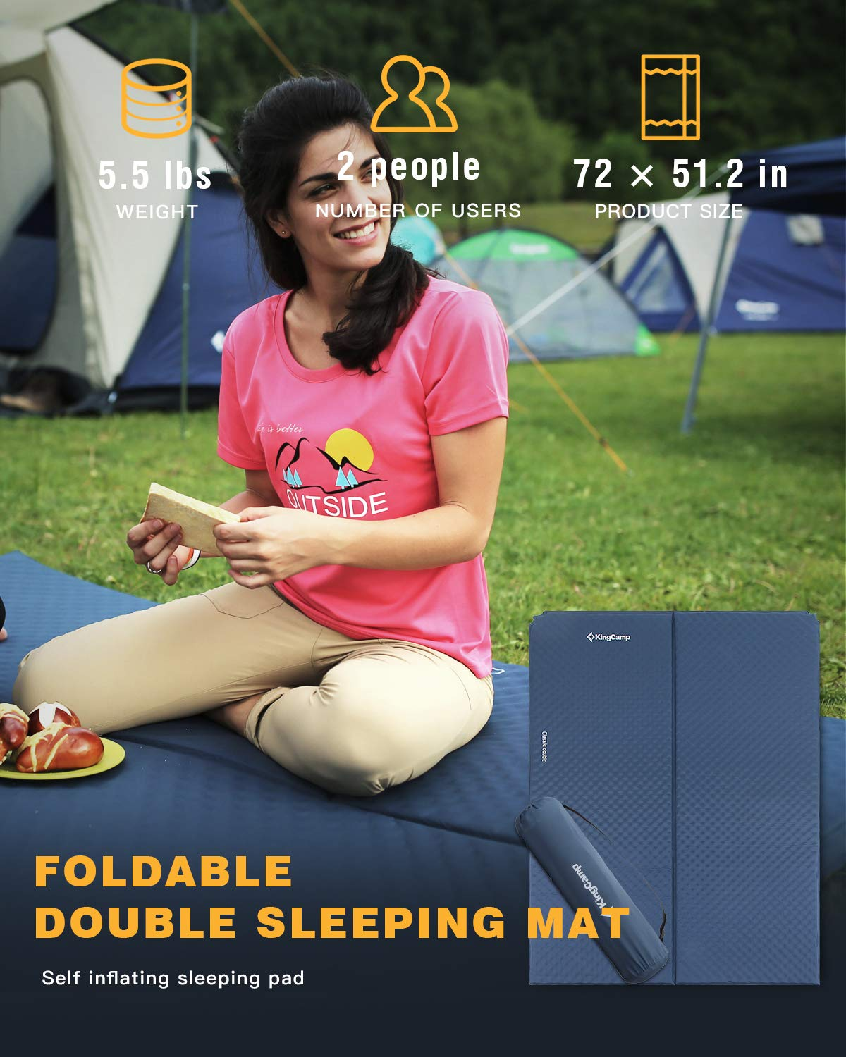 KingCamp CLASSIC Double Light Self-Inflating Camping Sleeping Pad Multiple Sizes Available