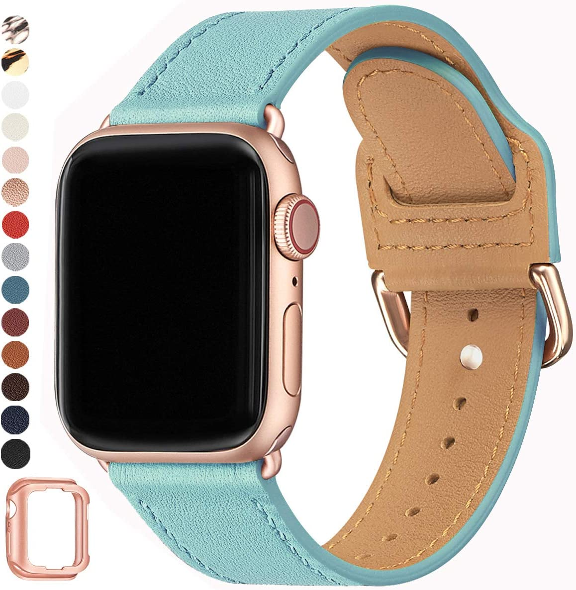 POWER PRIMACY Bands Compatible with Apple Watch Band 38mm 40mm 42mm 44mm, Top Grain Leather Smart Watch Strap Compatible for Men Women iWatch Series 6 5 4 3 2 1,SE (Tiffany Blue/Rosegold, 42mm 44mm)