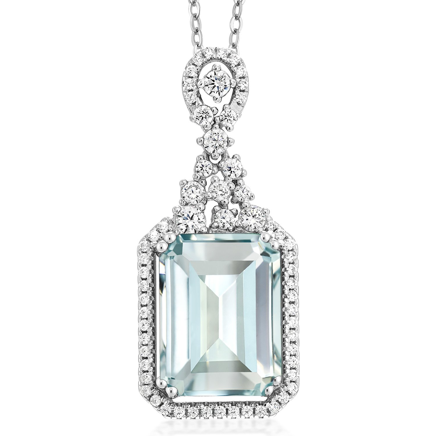 Sky Blue Simulated Aquamarine 925 Sterling Silver Pendant Necklace 7.24 Ct Emerald Cut with 18 Inch Silver Chain