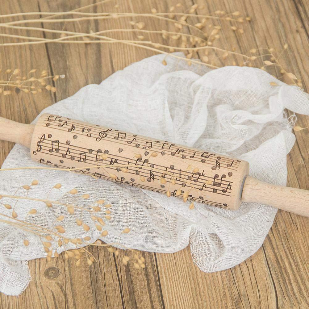 Laminatoio da 38 Cm,Mattarello in Rilievo Stile Creativo Utensili da Cucina in Legno,Note Musicali Mattarello Modello Inciso Cucina per Pasta,Pasta per Biscotti,Pasticceria