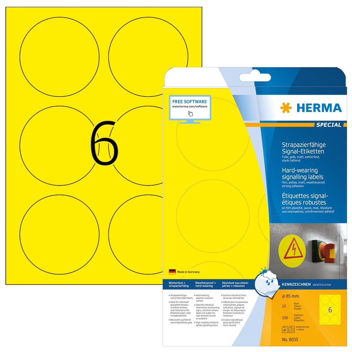 Herma 8336 Selbstklebende Schilder rund 25 Blatt DIN A4 Klebefolie matt wei/ß bedruckbar 150 Folien-Etiketten strapazierf/ähig /Ø 85 mm wetterfest