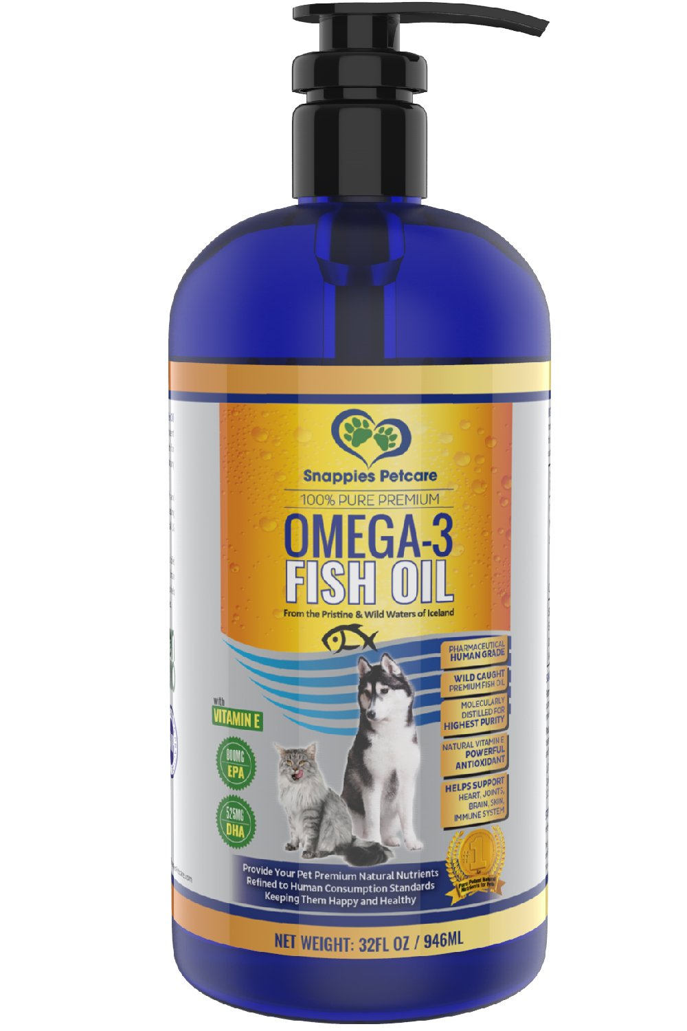 Omega 3 Fish Oil For Dogs and Cats - Wild Icelandic Pure, Natural, Odour Free, Liquid Fish Oil Pet Supplements with Vitamin E & Superior EPA & DHA for Optimal Nutrition / Health - 32oz Pump