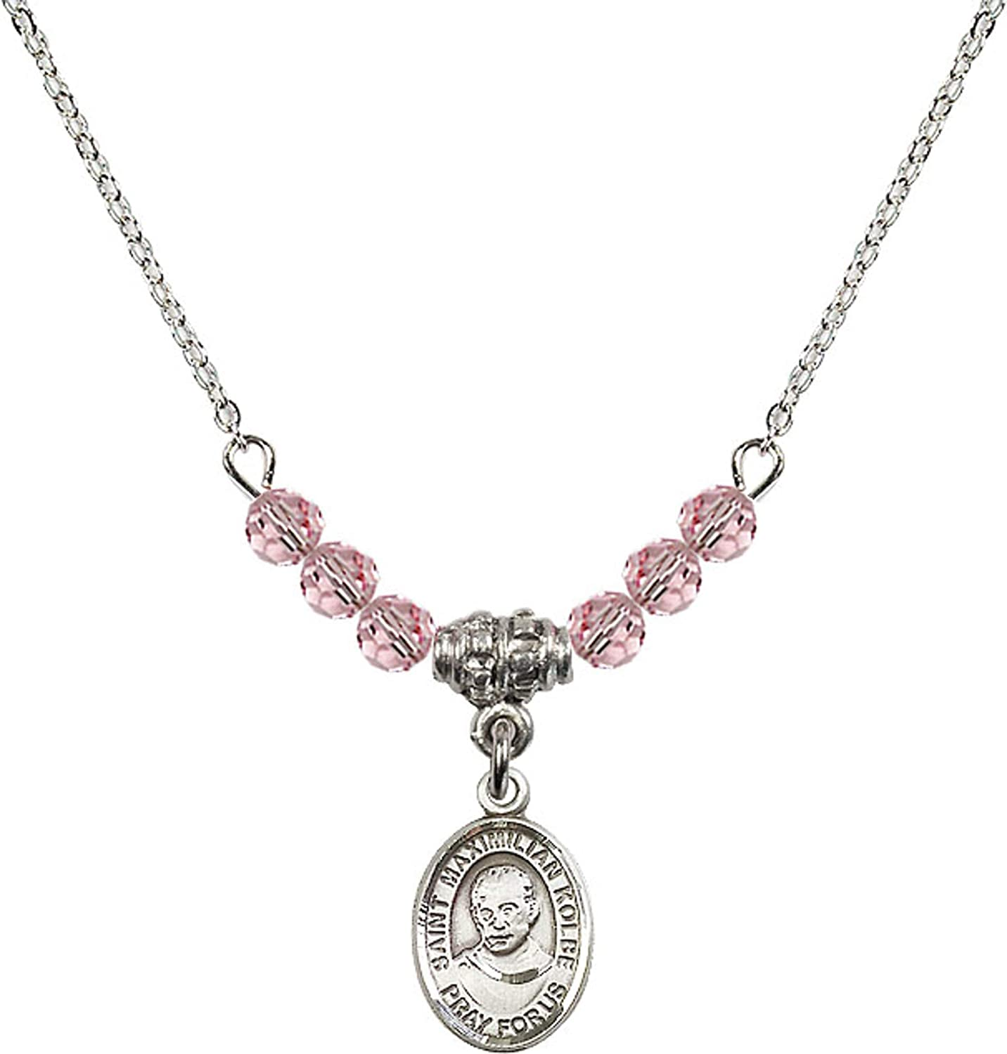 Bonyak Jewelry 18 Inch Rhodium Plated Necklace w// 4mm Light Rose Pink October Birth Month Stone Beads and Saint Maximilian Kolbe Charm