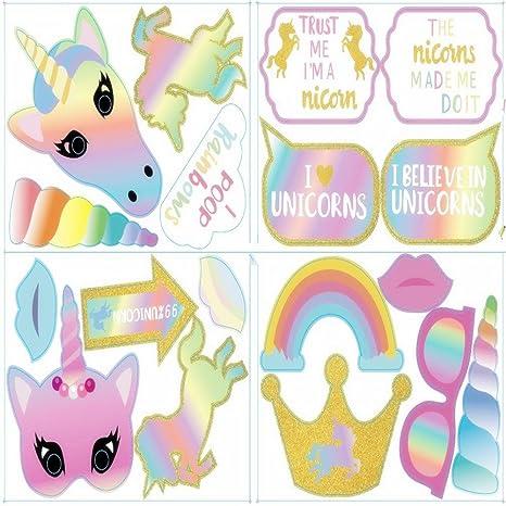 30 Unids Divertido Arco Iris Unicornio Photo Props Fiesta de Cumpleaños Decoración Favorece Suministros para Niños
