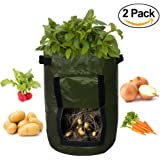 ATEKKi Potato Grow Bags 2-Pack 10 Gallon Planter, Access Flap, Handles, Gardening Planter, Smart Aeration Fabric - Vegetables, Carrot, Tomato, Onion - Growing Planting Bags - Heavy Duty Container Pot