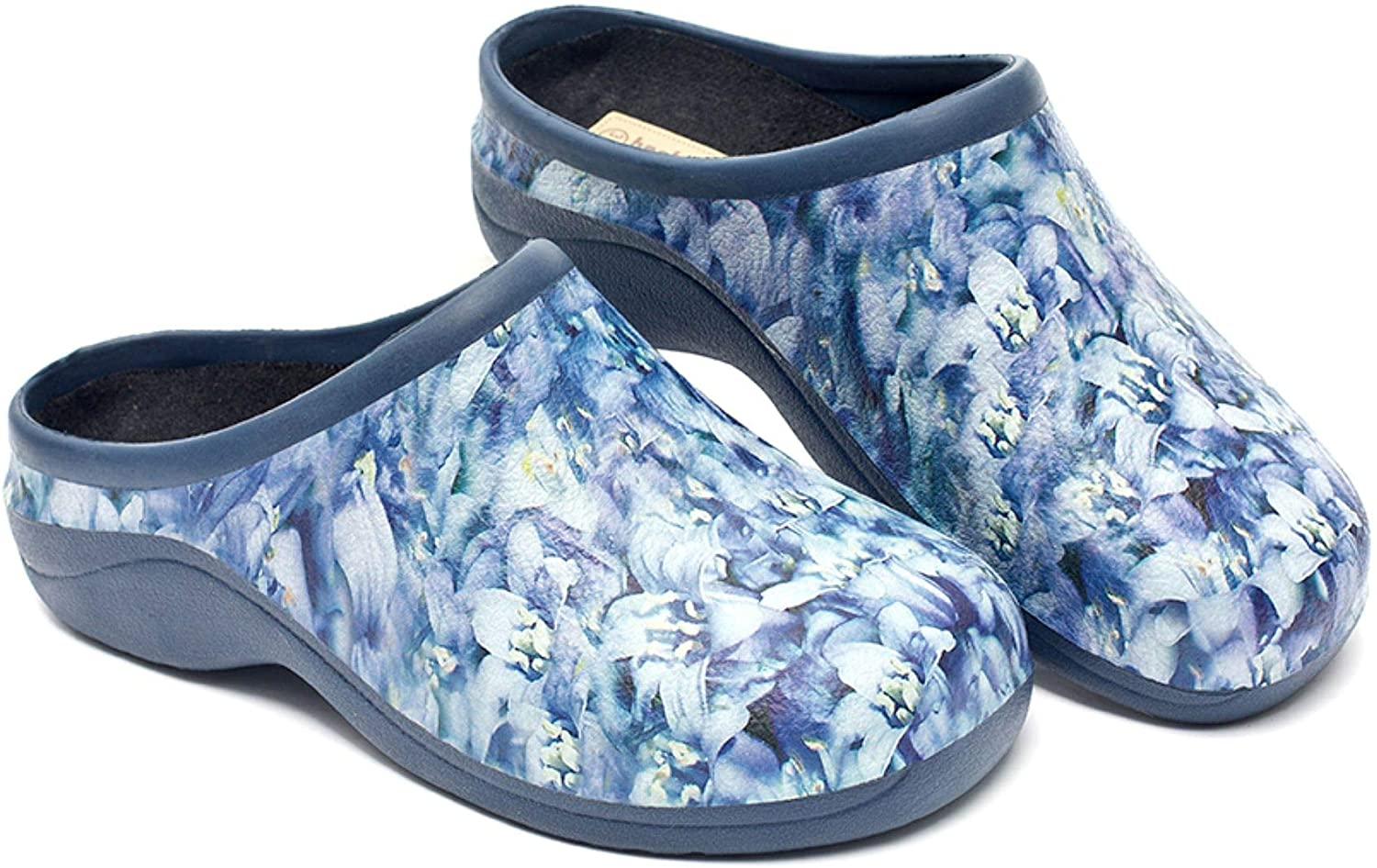 Backdoorshoes Waterproof Premium Garden Clogs with Arch Support-Bluebell Design