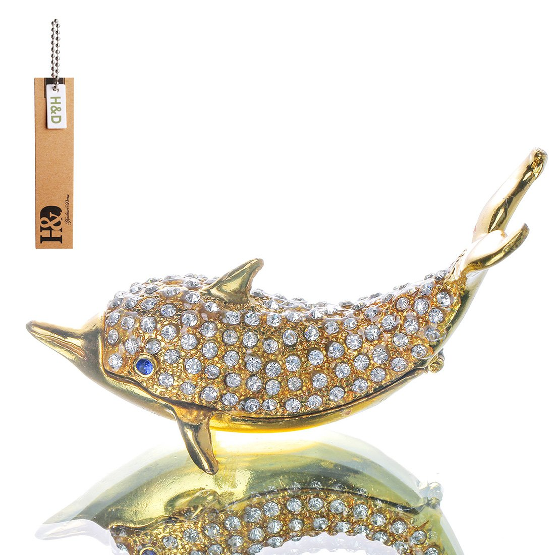 YUFENG Dolphins Enameled Crystal Trinket Box Hinged Ring Holder Small Jewelry Bejeweled Trinket Boxes Animal Figurine Collectible Decoration Gift