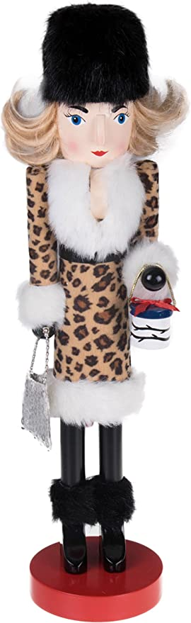 Fur Jacket 14 Tall Nutcracker Shopping Girl Lady with Shopping Bags Hat