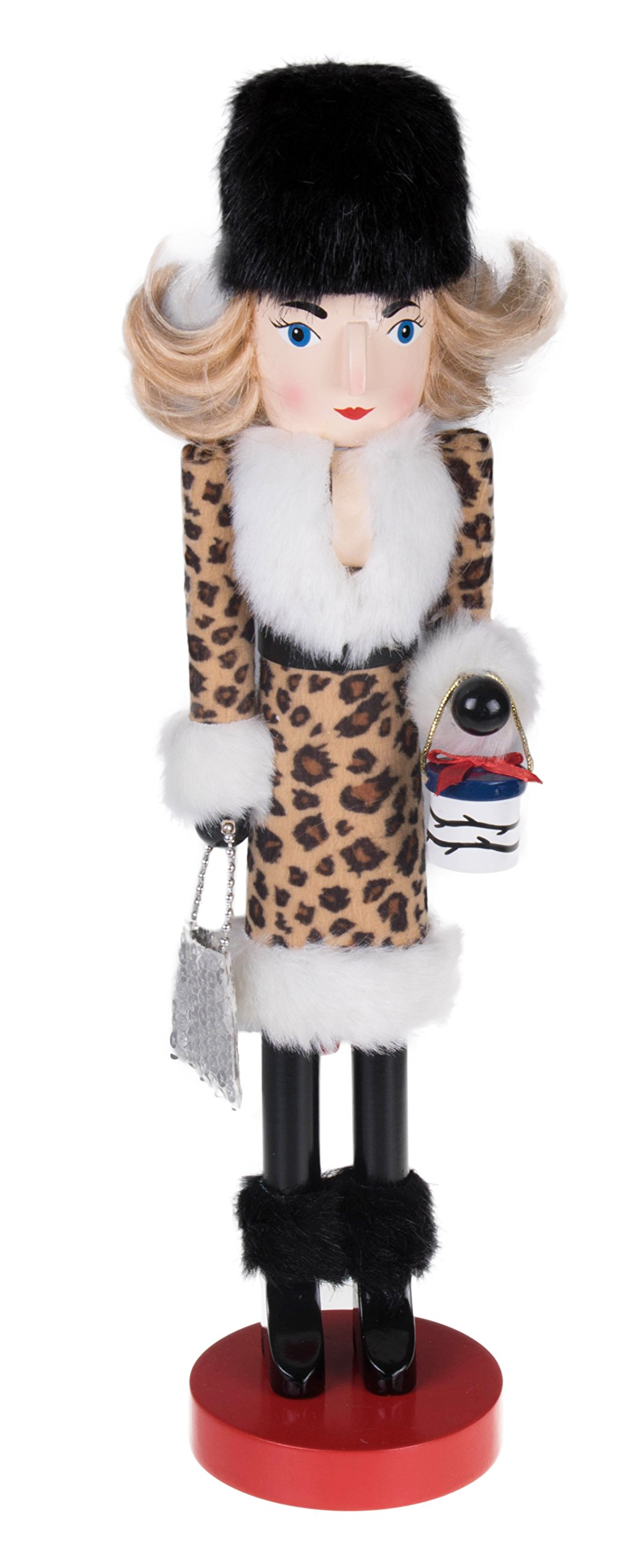 Woman Shopping Nutcracker by Clever Creations   Leopard Print Dress with Fur Trim   Carrying Gift and Purse   Festive Christmas Decor   100% Wood   Collectable Perfect for Shelves & Tables   15'' Tall