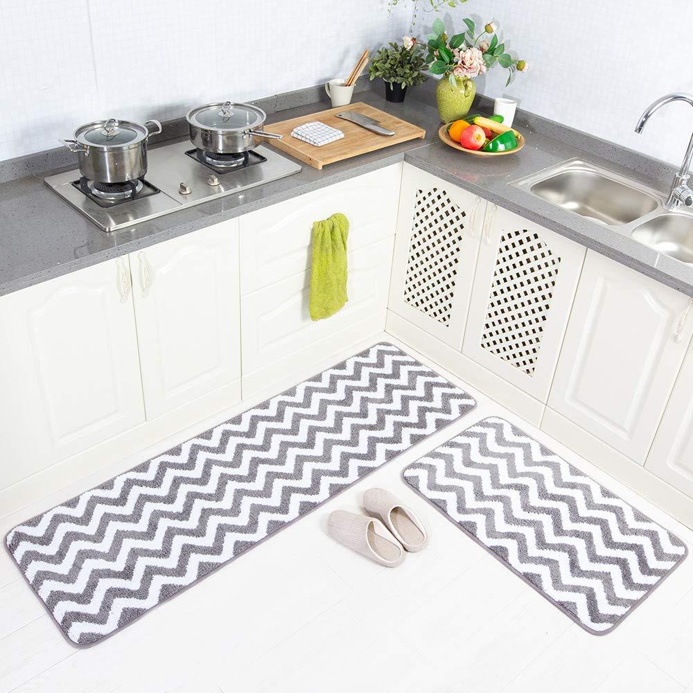 Carvapet 2 Pieces Microfiber Chevron Non-Slip Soft Kitchen Mat Bathroom Rug Set Water Absorbent Bath Runner Carpet Set, 20''x63''+20''x31'', Grey