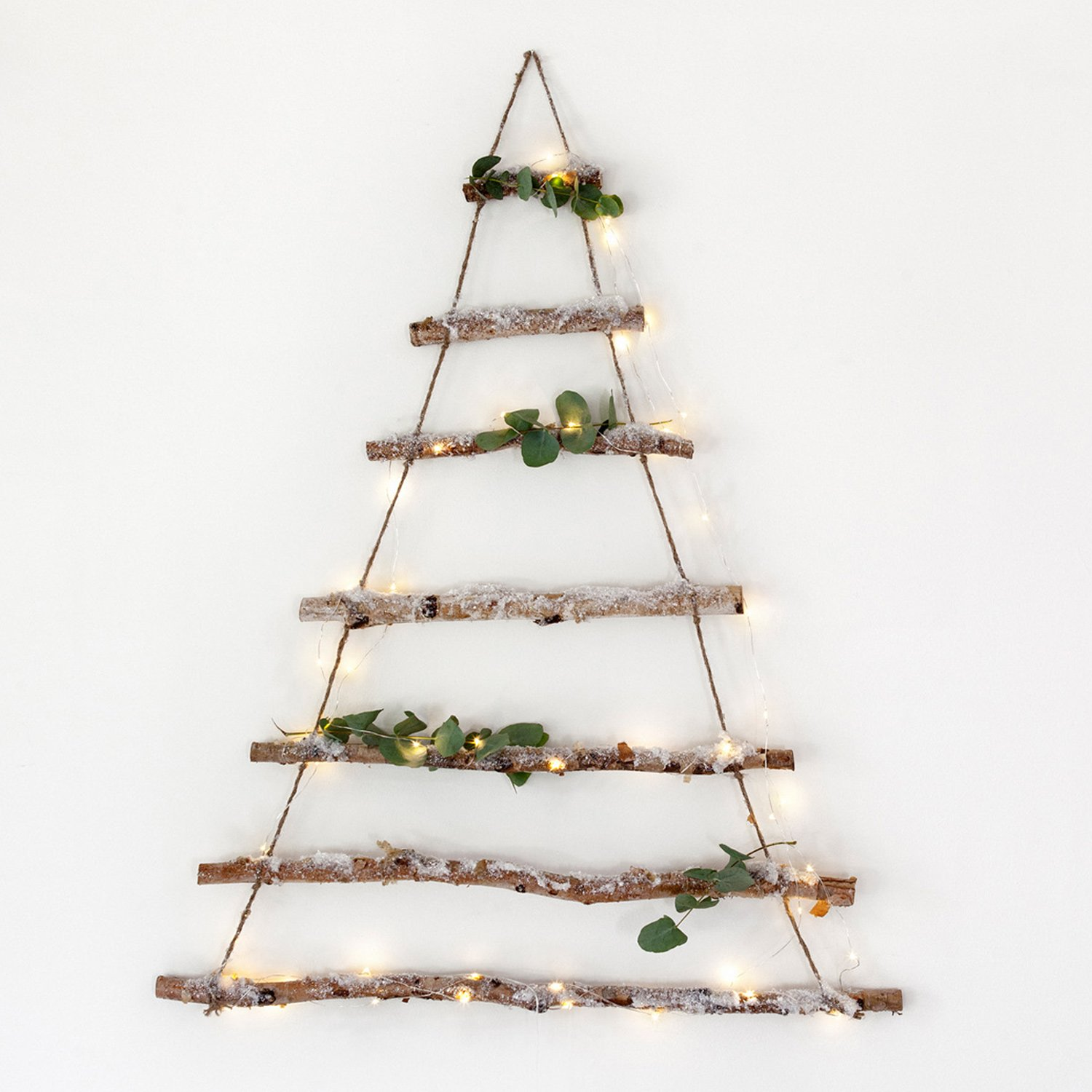 birch branch hanging christmas tree with snow dusting by lights4fun amazoncouk kitchen home - Wall Mounted Christmas Tree