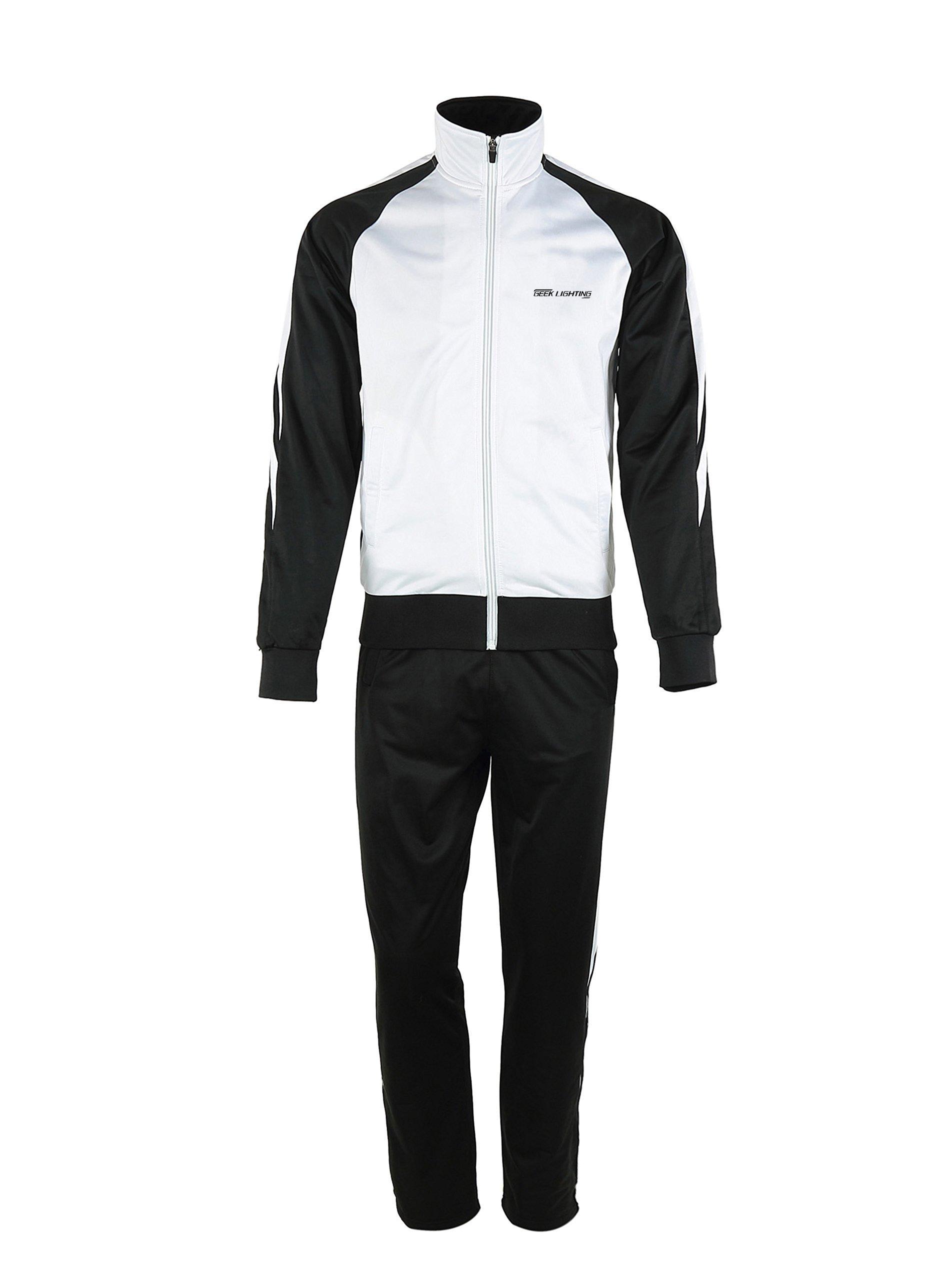 Men's Outdoor 2 Pic Jacket Pants Track Suit Sport Sweat Suit Set White/Black XX-Large