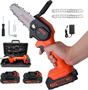 Mini Chainsaw,4 inch Cordless Electric Chain saw, 2.0Ah Rechargeable Battery Powered Electric Saw, One-Handed Portable electric chainsaw for branch wood cutting( 2x Battery,2x Chain)