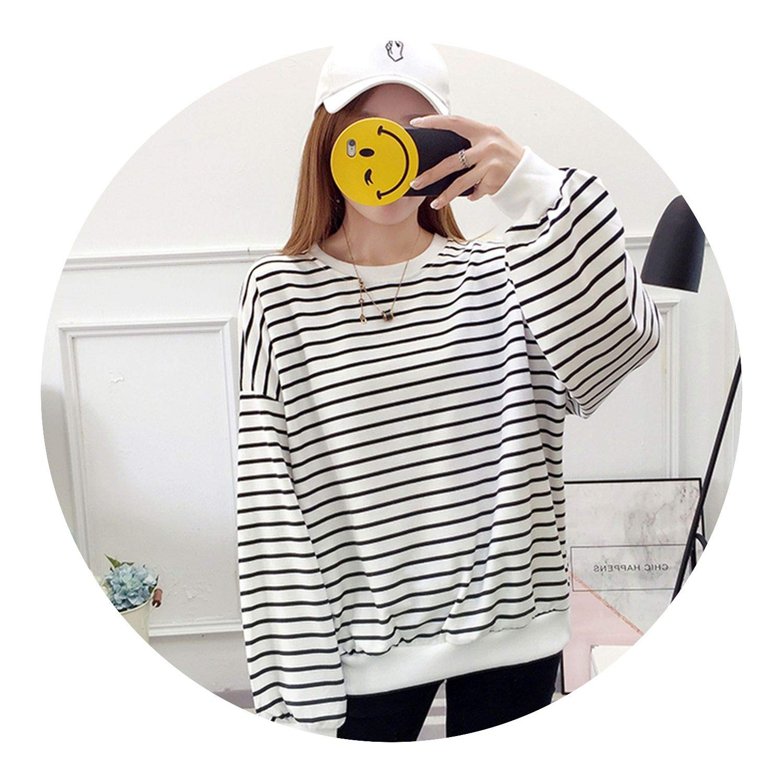 O-Neck Fall Long SLE Top Striped Loose Thin Warm Mujer M-XL