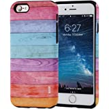 iPhone 6S Case, SKINU Wood Pattern [Shockproof 2 in 1 Hybrid] Rugged [Heavy Duty Combo] [Dual Layer] High Impact Durable Back Case Cover For iPhone 6 (2014)/6s (2015) - Rainbow Wood