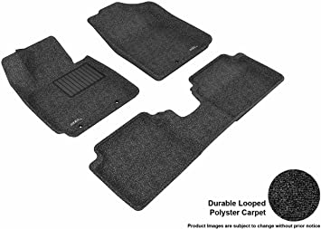 Black Kagu Rubber 3D MAXpider Complete Set Custom Fit All-Weather Floor Mat for Select Hyundai Veloster Models