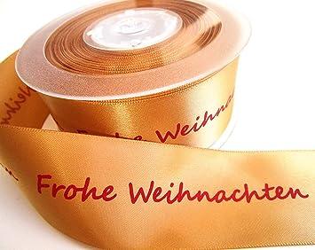 Geschenkband Frohe Weihnachten.Capiso Geschenkband Schleifenband Weihnachten Mit Schrift Frohe Weihnachten Gold 25m X 40mm