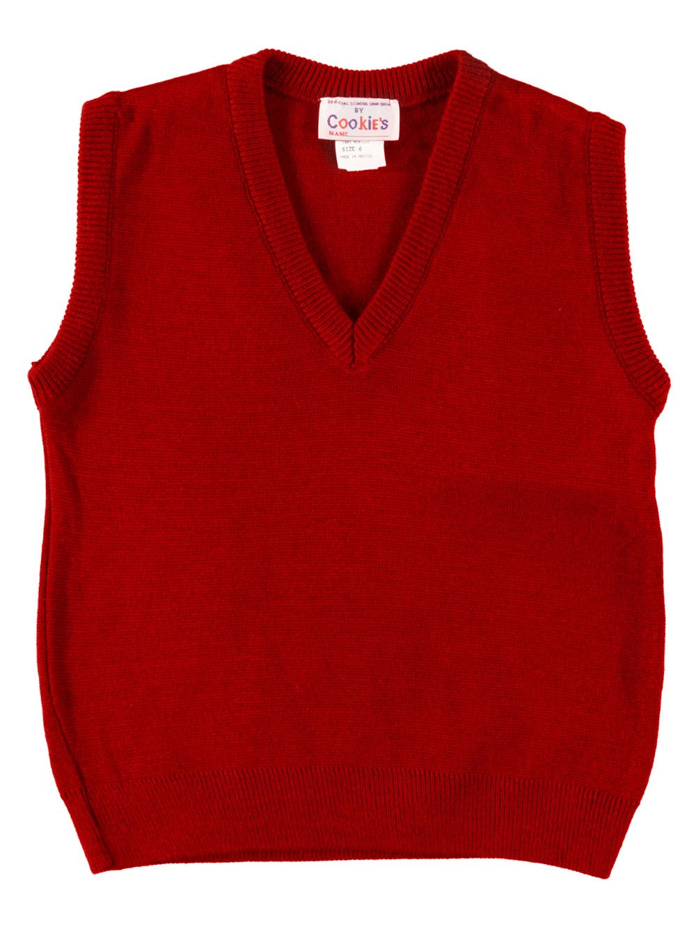 Cookie's Brand V-Neck Unisex Sweater Vest - red, 14