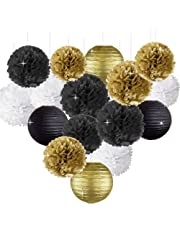 Happy New Year Party Decorations Black White Gold Tissue Paper Pom Pom Paper Lanterns for Great Gatsby Decorations/New Year's Eve Party/Birthday Decorations/Bridal Shower Decorations