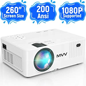 MVV Mini Projector, [200 ANSI--Brightness Over 6000 Lux] 1080P Supported Outdoor Movie Projector, 260''Display Compatible with TV Stick HDMI USB VGA TF DVD for Home Entertainment