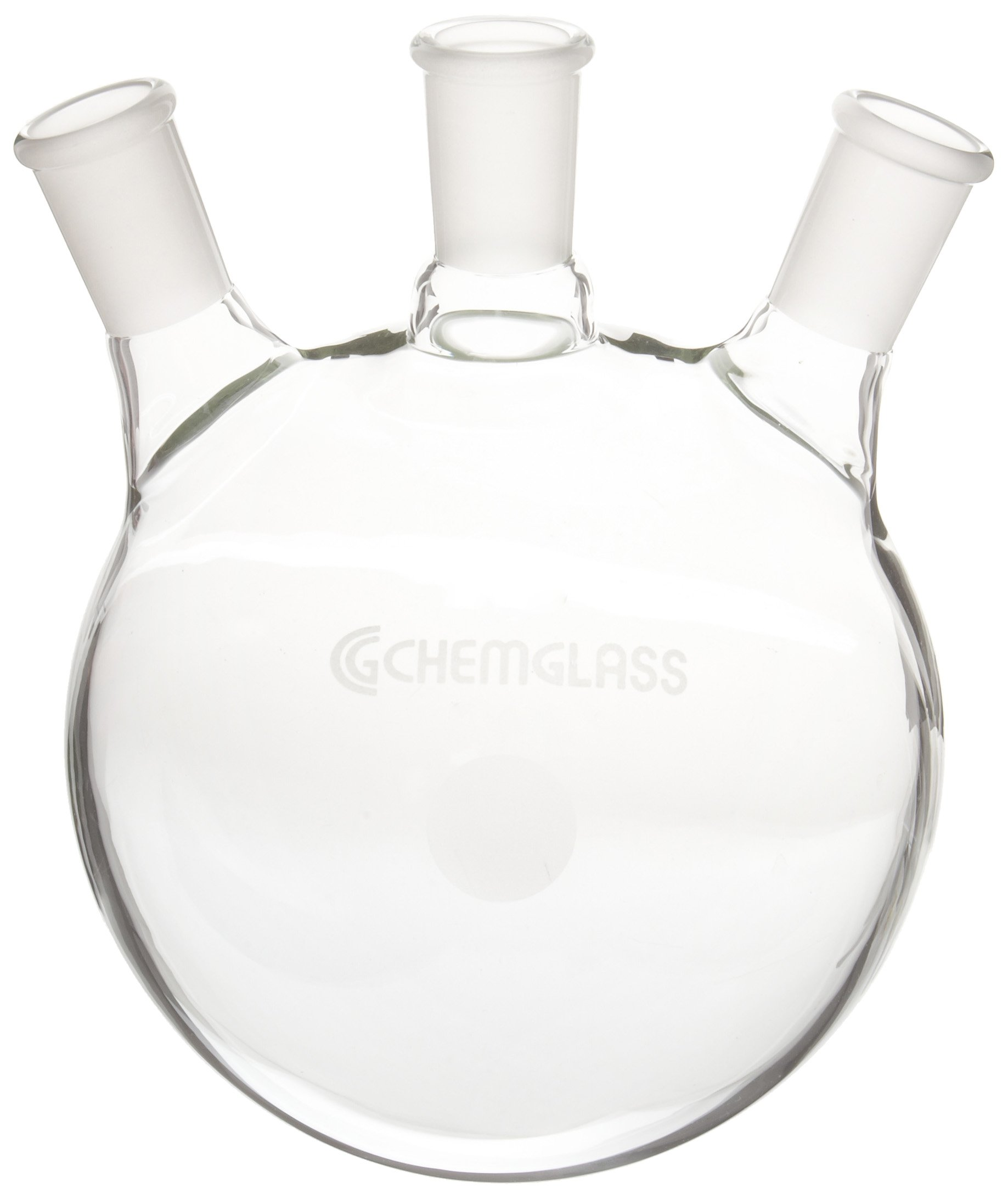 Chemglass CG-1524-50 Glass 2000mL Round Heavy Wall 3 Neck Bottom Boiling Flask with 24/40 Standard Taper Outer Joint and 20 Degree Angle