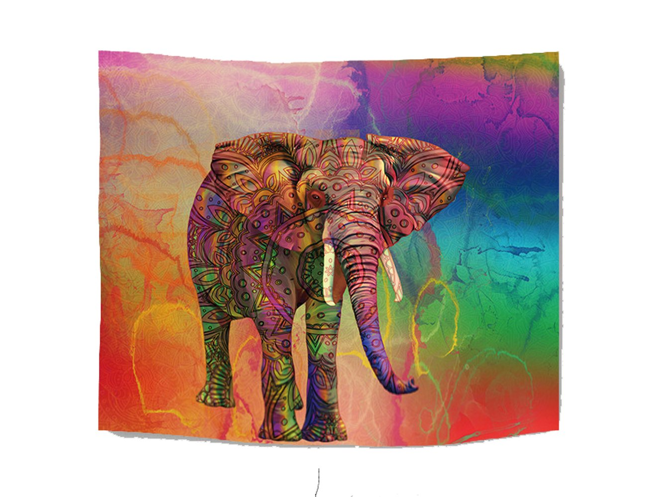 WCHUANG Boho Elephant Tapestry Wall Hanging, Dorm Décor Bedspread Yoga Mat Beach Coverlet Curtain