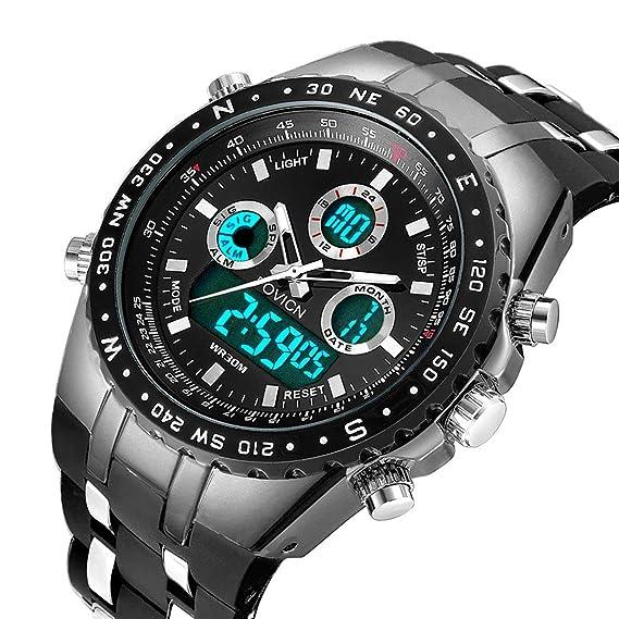 Reloj analógico digital para hombre Reloj deportivo para hombre Gran cara militar Reloj eléctrico impermeable digital