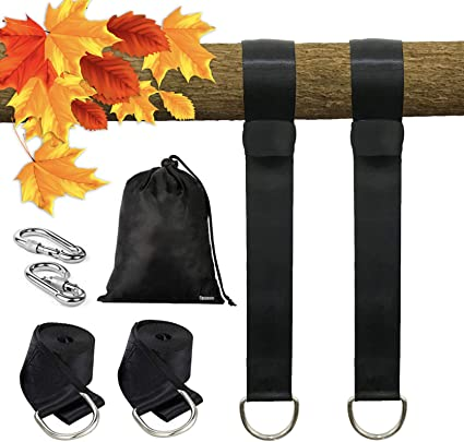 Tree Swing Hanging Straps Set of 2 Holds 2000 lbs //5 ft Long Straps with Safe Lock Snap Hooks Saucer Swings Hammocks Perfect for Tire Easy /& Fast to Installation Swing Hanger