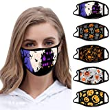5PCS Adults Reusable and Breathable Cotton Face ṁɑşḱs, with Pumpkin Halloween Pattern Adjustable Mouth Covering, Indoors…