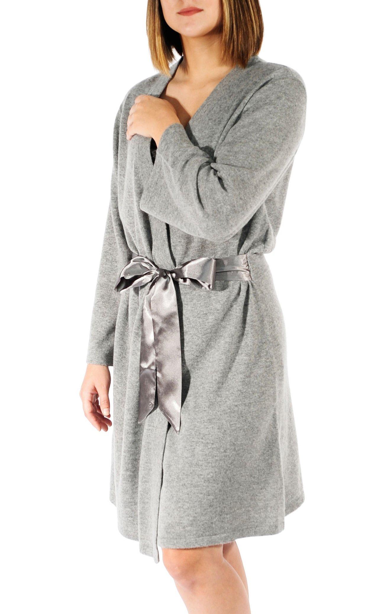 Gigi Reaume 100% Cashmere Women's Robe, Wrap Style, Satin Belt, Short Length (X-Large, Grey Heather)