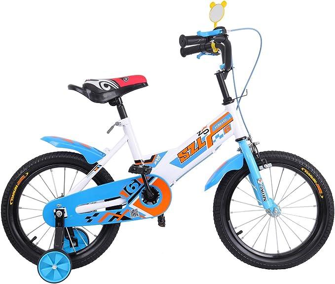 Ridgeyard 16 pulgadas Bicicleta Infantil Estudio aprendizaje montar a caballo bicicleta niños niñas bicicleta con ruedines por 3-5 años(azul): Amazon.es: Deportes y aire libre