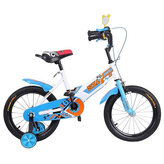 Ridgeyard 16 pulgadas Bicicleta Infantil Estudio aprendizaje montar a caballo bicicleta niños niñas bicicleta con ruedines por 3-5 años(azul): Amazon.es: ...