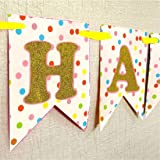 Themez Only Happy Birthday Banner with Balloons Birthday Party Supplies kit - (Multicolor)