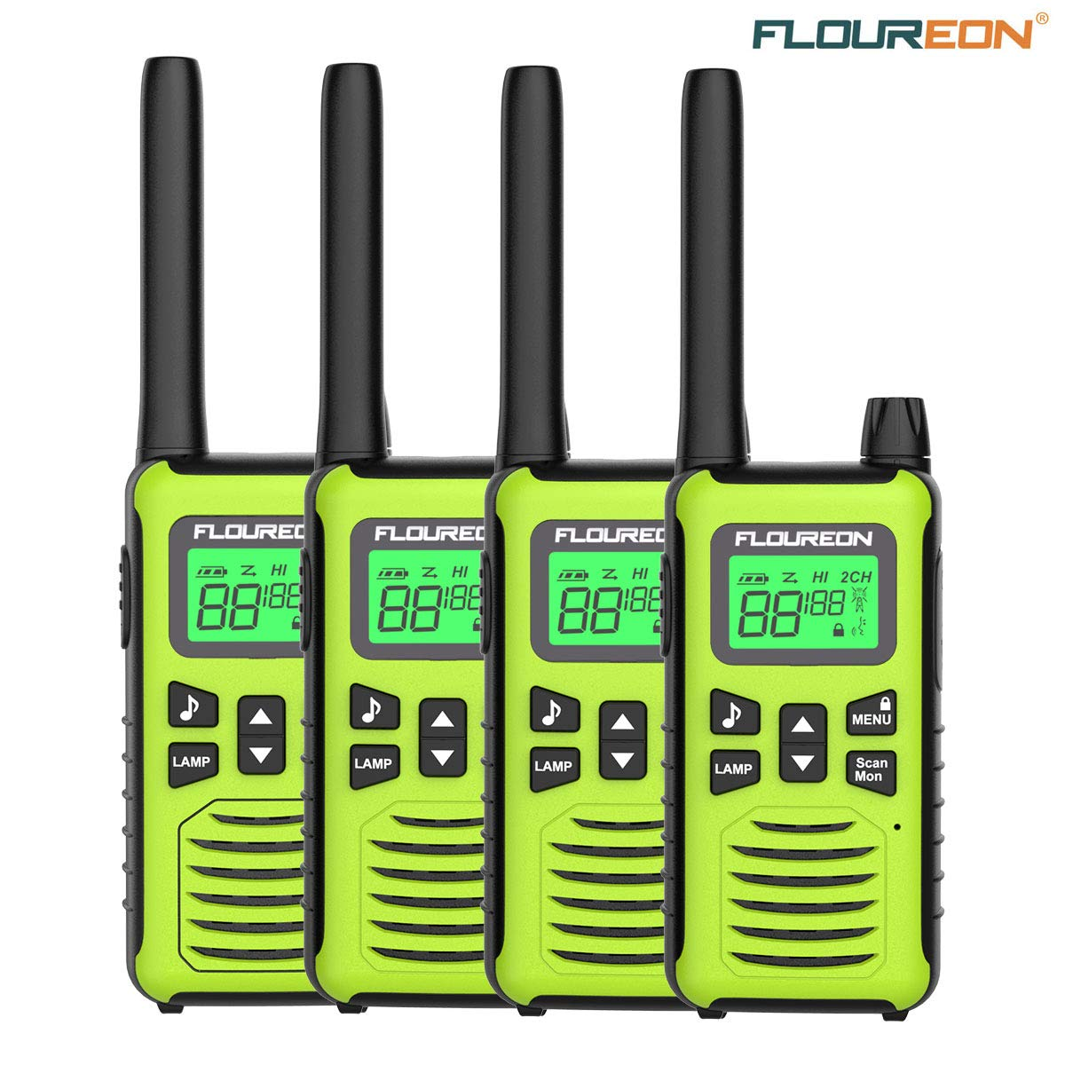 FLOUREON 4 Packs Walkie Talkies Two Way Radios 22 Channel 3000M (MAX 5000M  Open Field) Long Range Handheld Talkies Talky (Yellow)