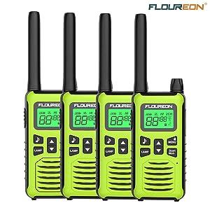 FLOUREON 4 Packs Walkie Talkies Two Way Radios 22 Channel 3000M (MAX 5000M Open Field) Long Range Handheld Talkies Talky (Yellow)