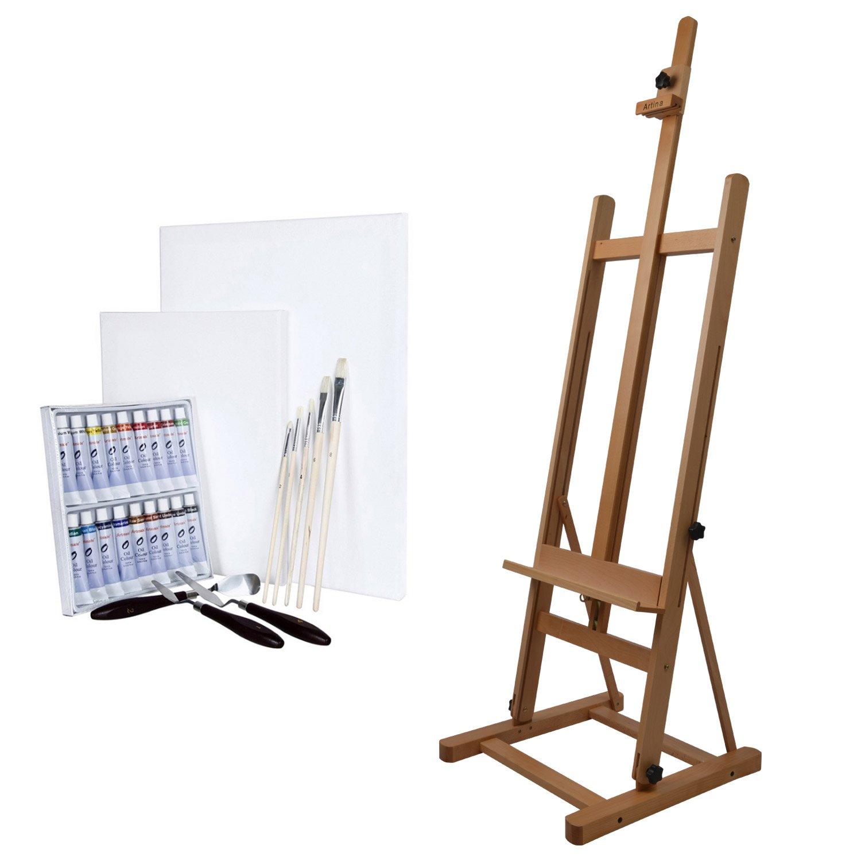 Artina Set pittura 29 pezzi, cavalletto professionale Siena + 18 colori a olio - 2 tele - 5 pennelli - 3 spatoline