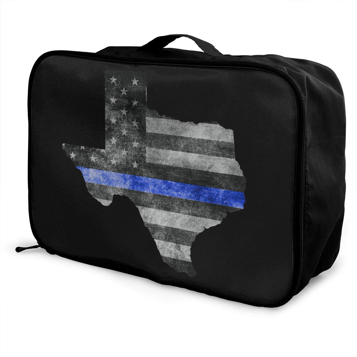 Texas Blue Lives Matter Lightweight Large Capacity Portable Luggage Bag Travel Duffel Bag Storage Carry Luggage Duffle Tote Bag