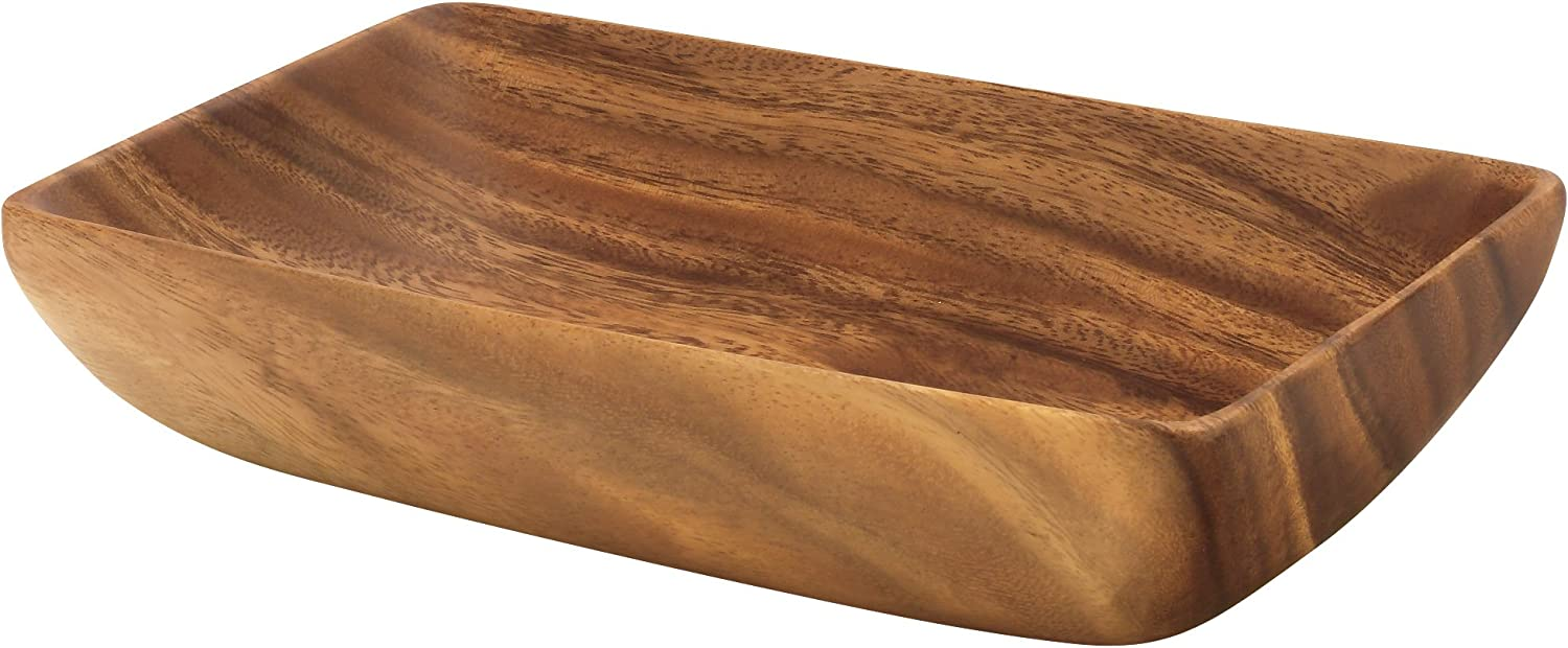 Pacific Merchants Acaciaware 10-by 6-by 2-Inch Acacia Rectangle Serving/Salad Bowl, Wood brown