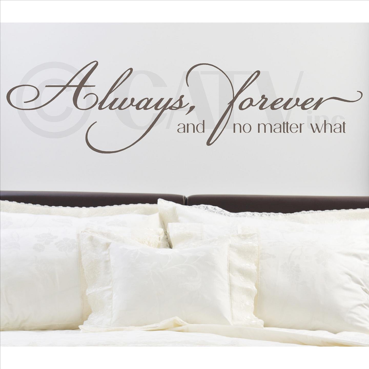 Always, Forever, and No Matter What Vinyl Lettering Wall Decal Sticker (12''H x 46''L, Metallic Bronze)