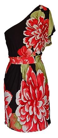 faec3d9233d Lemon Tree Floral One Shoulder Dress S Black at Amazon Women s ...