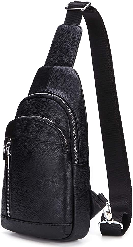 Small Sling Bag Shoulder Backpack Crossbody Bag for Men Women PU Leather Black