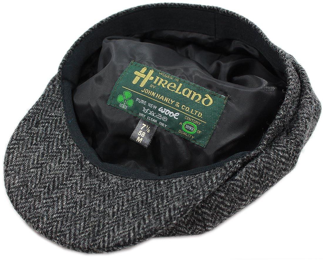 John Hanly Blinder Hat Wool Charcoal Herringbone Made in Ireland at Amazon  Men s Clothing store  70eaef5a3c4