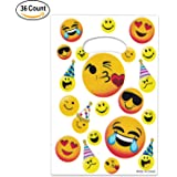 36 Pack Emoji Party Favor Plastic Goodie Treat Bags For Birthday Party Supplies By Gift Boutique