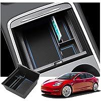 RUIYA Tesla modell 3 armstöd förvaringsbox för mittkonsol-arrangör med flockningsdesign biltillbehör 2021 uppdatering