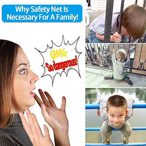 4UHeart Child Safety Net – 10ft x2.5ft, Rail Balcony Banister Stair Net Safety for Kids Toys Pets, Safe for Indoor, Outdoor, Patios or Balcony Use
