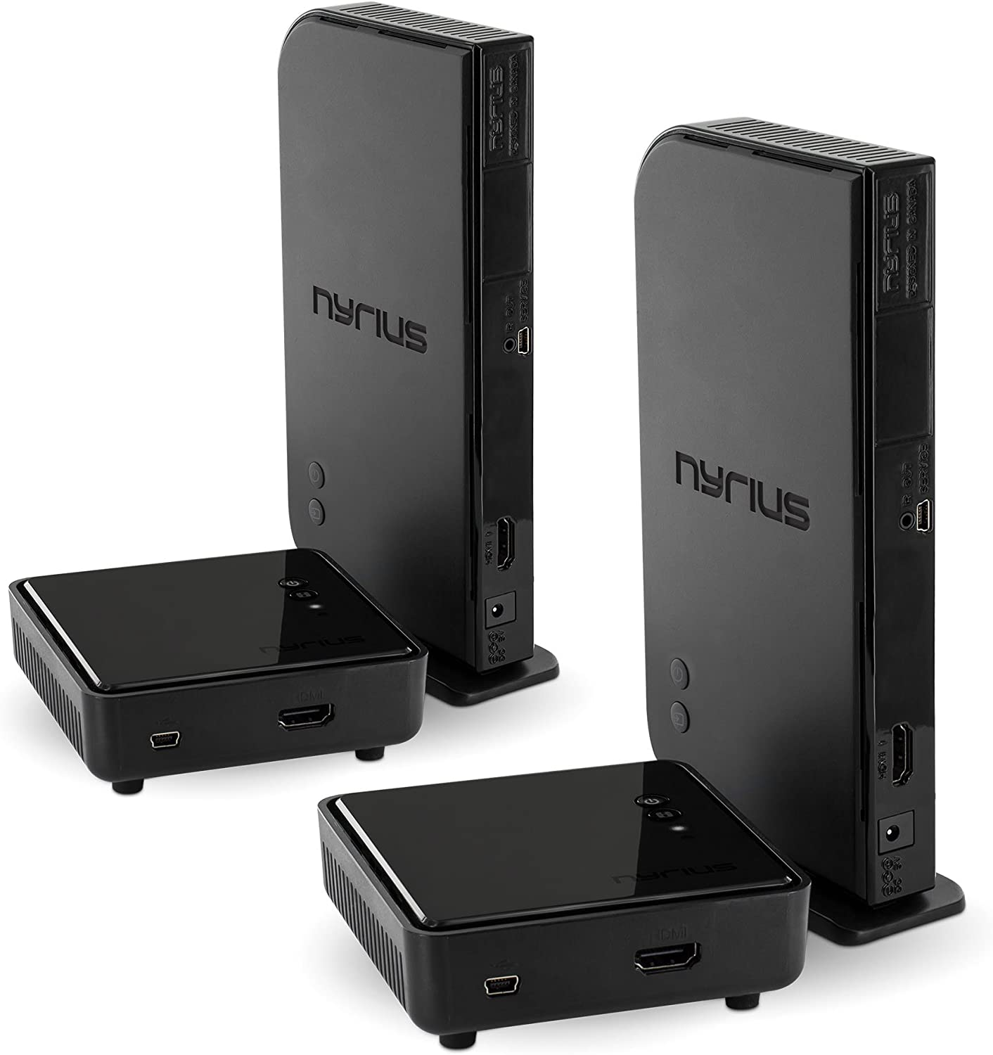 Nyrius Aries Home HDMI Digital Wireless Transmitter & Receiver for HD 1080p Video Streaming with IR Remote Extender (NAVS500) - Pack of 2