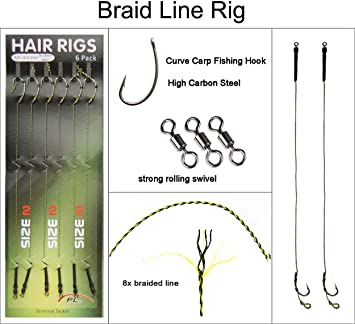3x Carp Fishing Hair Rig Extender /& 18Pcs Carp Fishing Hair Rigs Kit Size 6 8 10