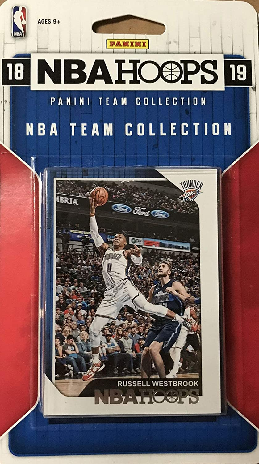 Oklahoma City Thunder 2018 2019 Hoops Basketball Factory Sealed 9 Card NBA Licensed Team Set with Russell Westbrook and Paul George Plus