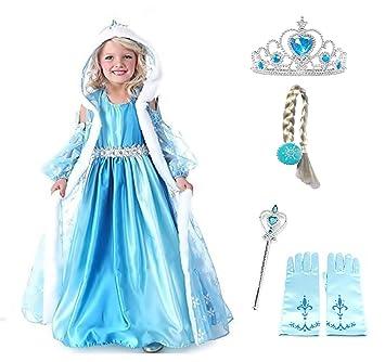 Tamaño 150 - 9 - 10 años - Disfraz - Traje Elsa Hood - Accesorios -