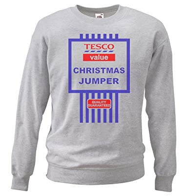 2e5f45fea Grey or White Tesco s Funny Value Christmas Jumper Tesco Black ...
